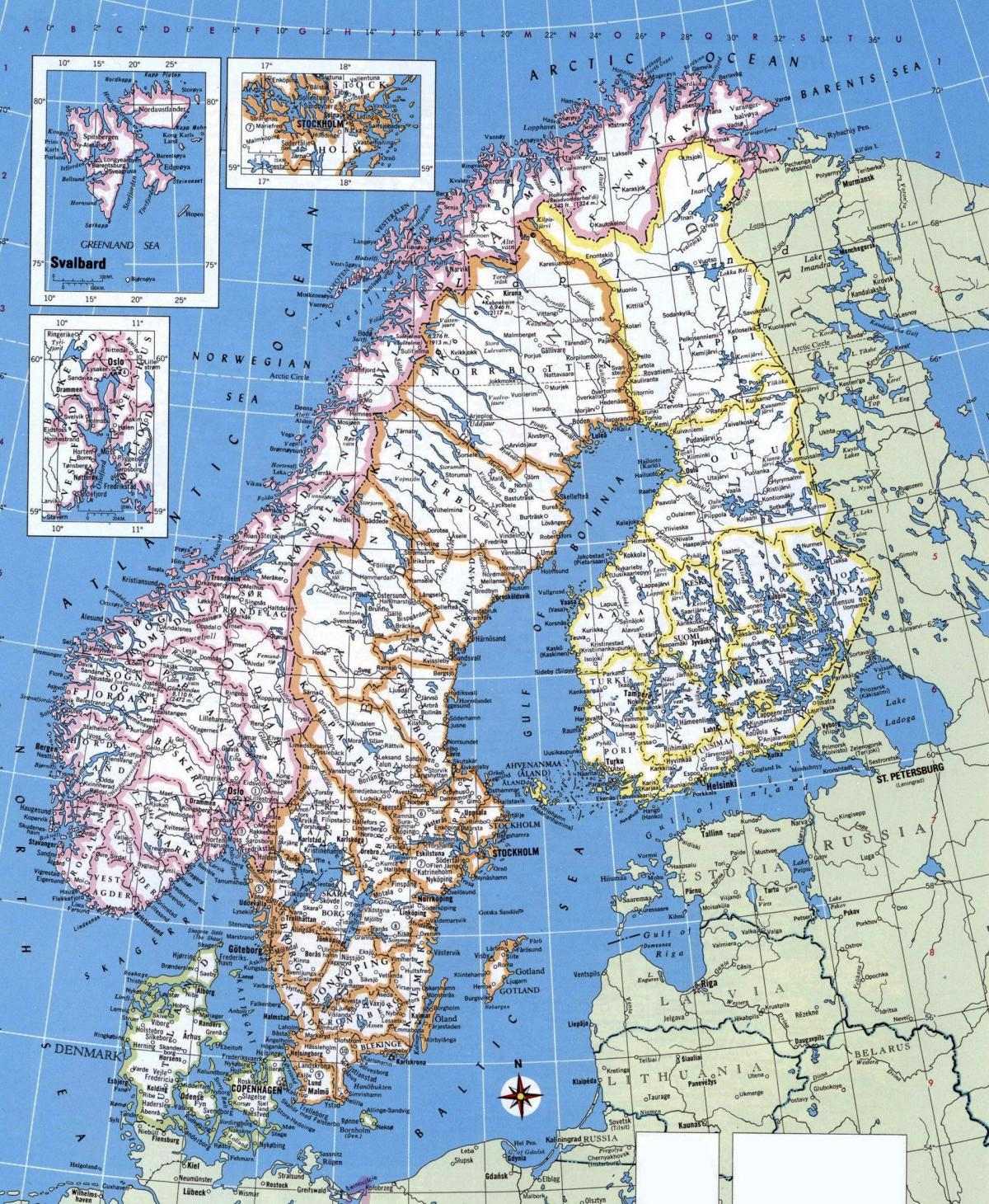 Map of detailed Norway