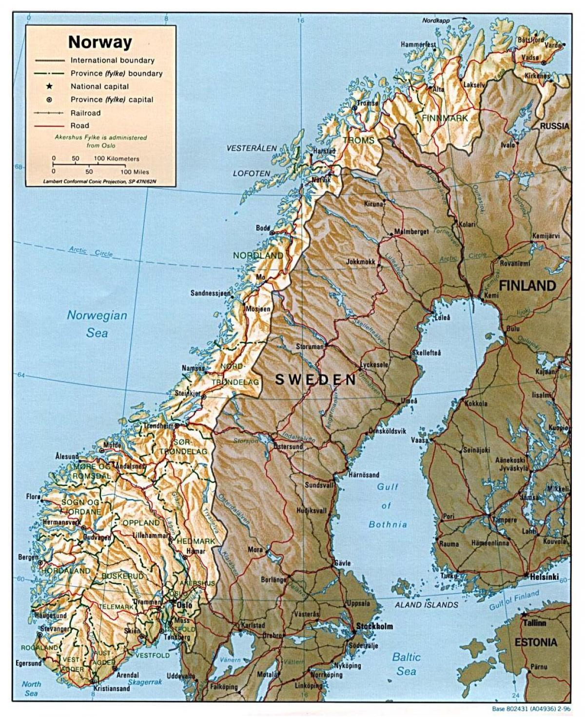 detailed map of Norway with cities