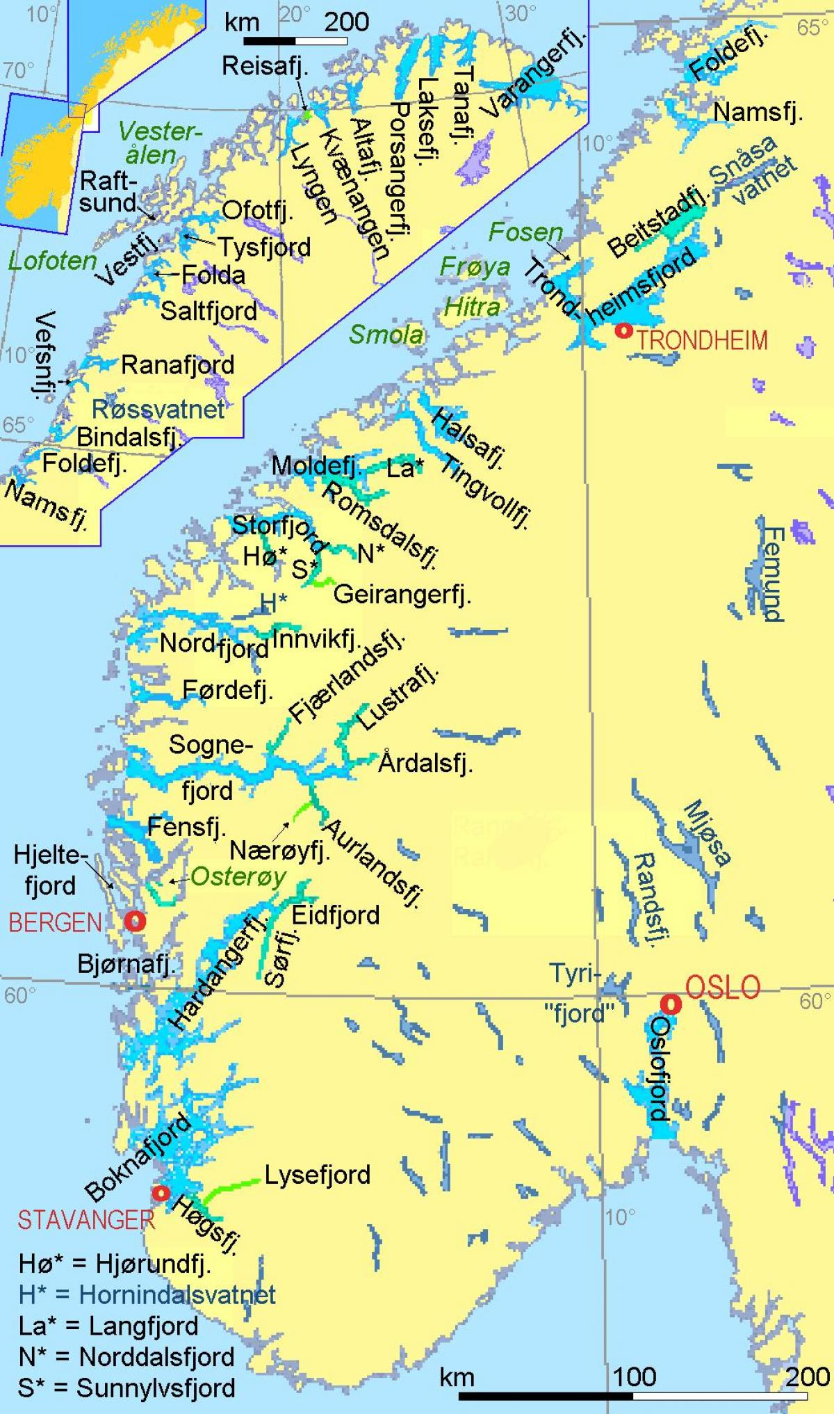 map of Norway showing fjords
