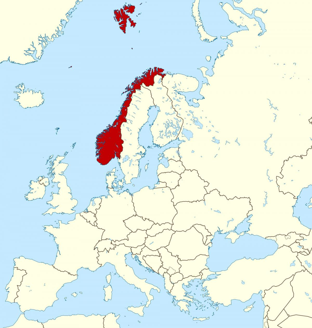 map of Norway and europe